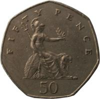 reverse of 50 Pence - Elizabeth II - 2'nd Portrait (1982 - 1984) coin with KM# 932 from United Kingdom. Inscription: FIFTY PENCE 50