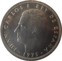 obverse of 50 Pesetas - Juan Carlos I (1975) coin with KM# 809 from Spain. Inscription: JUAN CARLOS I REY DE ESPAÑA · 1975 ·