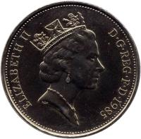 obverse of 10 Pence - Elizabeth II - Set Issue; 3'rd Portrait (1985 - 1992) coin with KM# 938 from United Kingdom. Inscription: ELIZABETH II D · G · REG · F · D · 1992 RDM