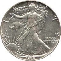 obverse of 1 Dollar - American Silver Eagle Bullion (1986 - 2016) coin with KM# 273 from United States. Inscription: LIBERTY IN GOD WE TRUST 1988