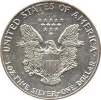 reverse of 1 Dollar - American Silver Eagle Bullion (1986 - 2016) coin with KM# 273 from United States. Inscription: · UNITED STATES OF AMERICA · E PLURIBUS UNUM 1 OZ. FINE SILVER~ONE DOLLAR