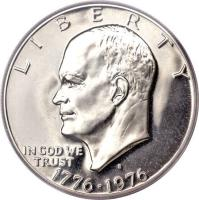 obverse of 1 Dollar - United States 200th Anniversary of Independence - Eisenhower Bicentennial Dollar (1976) coin with KM# 206 from United States. Inscription: LIBERTY IN GOD WE TRUST 1776 · 1976
