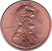 obverse of 1 Cent - Lincoln Bicentennial: Formative Years in Indiana - Lincoln Penny (2009) coin with KM# 442 from United States. Inscription: IN GOD WE TRUST LIBERTY 2009