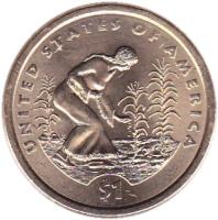 reverse of 1 Dollar - Native American Planting Crops - Sacagawea Dollar (2009) coin with KM# 467 from United States. Inscription: UNITED STATES OF AMERICA $1