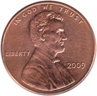 obverse of 1 Cent - Professional Life - Lincoln Penny (2009) coin with KM# 443 from United States. Inscription: IN GOD WE TRUST LIBERTY 2009