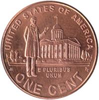reverse of 1 Cent - Professional Life - Lincoln Penny (2009) coin with KM# 443 from United States. Inscription: UNITED STATES OF AMERICA E PLURIBUS UNUM ONE CENT