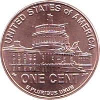 reverse of 1 Cent - Presidency in Washington, D.C. - Lincoln Penny (2009) coin with KM# 444 from United States. Inscription: UNITED STATES OF AMERICA E PLURIBUS UNUM ONE CENT