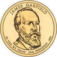 obverse of 1 Dollar - James Garfield (2011) coin with KM# 502 from United States. Inscription: JAMES GARFIELD PN IN GOD WE TRUST 20th PRESIDENT 1881