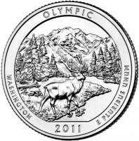 reverse of 1/4 Dollar - Olympic National Park, Washington - Washington Quarter (2011) coin with KM# 496 from United States. Inscription: OLYMPIC WASHINGTON E PLURIBUS UNUM 2011