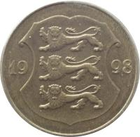 obverse of 1 Kroon (1998 - 2006) coin with KM# 35 from Estonia. Inscription: 20 01