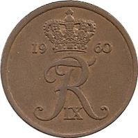 obverse of 5 Øre - Frederik IX (1960 - 1972) coin with KM# 848 from Denmark. Inscription: 19 72 FR IX