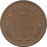 reverse of 5 Øre - Frederik IX (1960 - 1972) coin with KM# 848 from Denmark. Inscription: DANMARK 5 ØRE S♥S