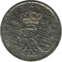 obverse of 1 Øre - Frederik IX (1948 - 1972) coin with KM# 839 from Denmark. Inscription: 19 61 FR IX