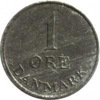 reverse of 1 Øre - Frederik IX (1948 - 1972) coin with KM# 839 from Denmark. Inscription: 1 ØRE DANMARK