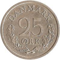 reverse of 25 Øre - Frederik IX (1960 - 1967) coin with KM# 850 from Denmark. Inscription: DANMARK 25 ØRE