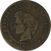 obverse of 5 Centimes (1871 - 1898) coin with KM# 821 from France. Inscription: RÉPUBLIQUE FRANÇAISE OUDINÉ 1897