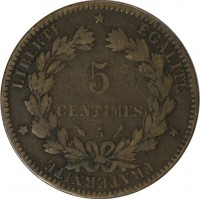 reverse of 5 Centimes (1871 - 1898) coin with KM# 821 from France. Inscription: LIBERTÉ * ÉGALITÉ * FRATERNITÉ * 5 CENTIMES A