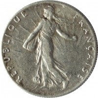obverse of 50 Centimes (1897 - 1920) coin with KM# 854 from France. Inscription: REPUBLIQUE FRANÇAISE O. ROTY