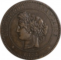 obverse of 10 Centimes (1870 - 1898) coin with KM# 815 from France. Inscription: REPUBLIQUE FRANCAISE * 1872 *