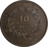 reverse of 10 Centimes (1870 - 1898) coin with KM# 815 from France. Inscription: LIBERTÉ * ÉGALITÉ * FRATERNITÉ * 10 CENTIMES A
