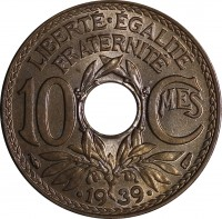 reverse of 10 Centimes (1938 - 1939) coin with KM# 889 from France. Inscription: LIBERTE · EGALITE FRATERNITE 10 Cmes 1939