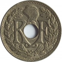 obverse of 5 Centimes (1938 - 1939) coin with KM# 875a from France. Inscription: RF EM LINDAUER