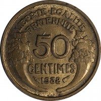 reverse of 50 Centimes (1931 - 1947) coin with KM# 894 from France. Inscription: LIBERTE · EGALITE FRATERNITE 50 CENTIMES 1932