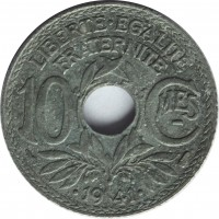 reverse of 10 Centimes - MES underlined; Year with points (1941) coin with KM# 897 from France. Inscription: LIBERTÉ · ÉGALITÉ FRATERNITÉ 10 Cmes · 1941 ·