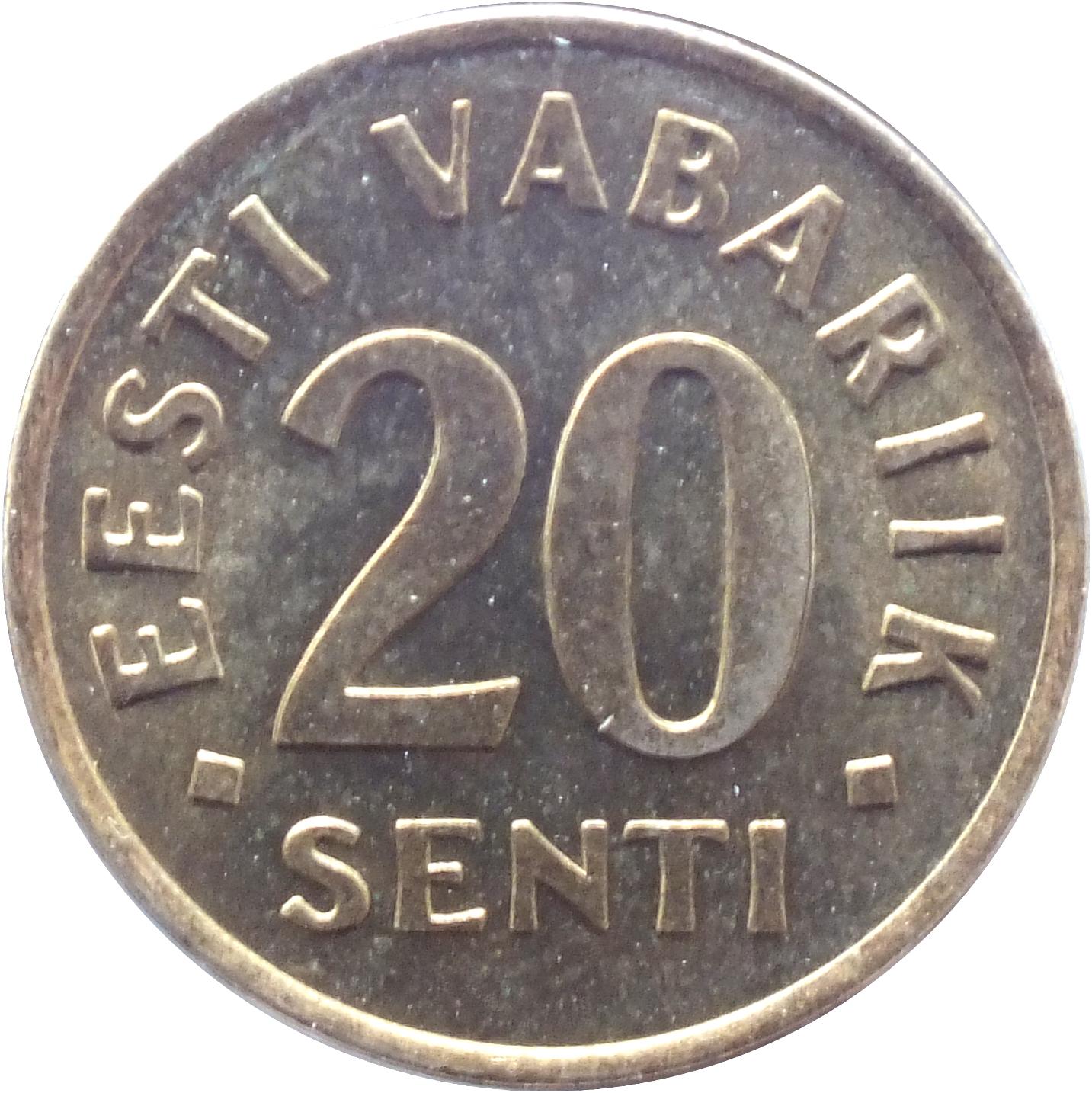 Eesti vabariik 20 senti 1996 2 копейки 1958