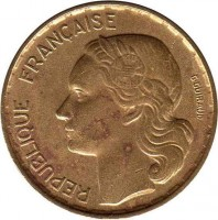 obverse of 20 Francs - G GUIRAUD (1950 - 1954) coin with KM# 917 from France. Inscription: REPUBLIQUE FRANÇAISE G GUIRAUD