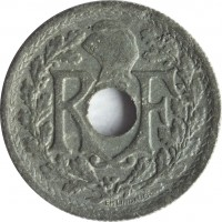 obverse of 10 Centimes (1944 - 1946) coin with KM# 906 from France. Inscription: RF EM LINDAUER
