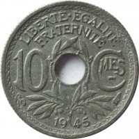 reverse of 10 Centimes (1944 - 1946) coin with KM# 906 from France. Inscription: LIBERT.ÉGALITÉ FRATERNITÉ 10 CMES 1945