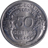 reverse of 50 Centimes - Lighter (1941 - 1947) coin with KM# 894a from France. Inscription: LIBERTE · EGALITE FRATERNITE 50 CENTIMES 1945