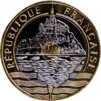 obverse of 20 Francs (1992 - 2001) coin with KM# 1008 from France. Inscription: RÉPUBLIQUE FRANÇAISE