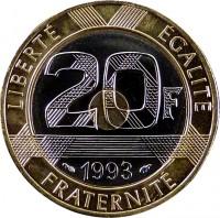 reverse of 20 Francs (1992 - 2001) coin with KM# 1008 from France. Inscription: LIBERTÉ EGALITÉ 20F 1993 FRATERNITÉ