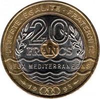reverse of 20 Francs - Mediterranean Games (1993) coin with KM# 1016 from France. Inscription: LIBERTE · EGALITE · FRATERNITE 20 FRANCS JEUX MEDITERRANEENS 19 93
