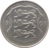 obverse of 1 Kroon (1992 - 1995) coin with KM# 28 from Estonia. Inscription: 19 93