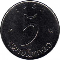 reverse of 5 Centimes (1959 - 1964) coin with KM# 927 from France. Inscription: 1962 5 centimes