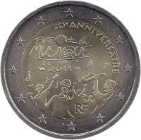obverse of 2 Euro - Music Day (2011) coin with KM# 1789 from France. Inscription: 30e ANNIVERSAIRE Fête de la MUSIQUE 21 JUIN 2011 RF
