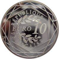reverse of 10 Euro - Hercules (2012 - 2013) coin with KM# 2073 from France. Inscription: RÉPUBLIQUE FRANÇAISE EURO 10