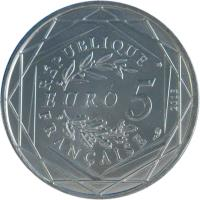 reverse of 5 Euro - Liberté (2013) coin with KM# 1758 from France. Inscription: RÉPUBLIQUE FRANÇAISE EURO 5 2013