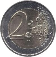 reverse of 2 Euro - Pierre de Coubertin (2013) coin with KM# 2102 from France. Inscription: 2 EURO LL