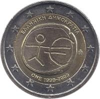 obverse of 2 Euro - 10 Years of EMU (2009) coin with KM# 227 from Greece. Inscription: ΕΛΛΗΝΙΚΗ ΔΗΜΟΚΡΑΤΙΑ ΟΝΕ 1999-2009