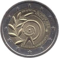 obverse of 2 Euro - Special Olympics (2011) coin with KM# 239 from Greece. Inscription: XIII SPECIAL OLYPICS GAMES W.S.G. ATHENS 2011 ΕΛΛΗΝΙΚΗ ΔΗΜΟΚΡΑΤΙΑ