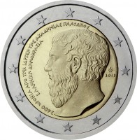 obverse of 2 Euro - 2400 years from the foundation of Plato's Academy (2013) coin with KM# 252 from Greece. Inscription: 2.400 ΧΡΟΝΙΑ ΑΠΟ ΤΗΝ ΙΔΡΥΣΗ ΤΗΣ ΑΚΑΔΗΜΙΑΣ ΠΛΑΤΩΝΟΣ ΕΛΛΗΝΙΚΗ ΔΗΜΟΚΡΑΤΙΑ 2013