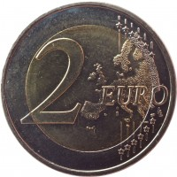 reverse of 2 Euro - Crete - 100 years from its union with Greece (2013) coin with KM# 253 from Greece. Inscription: 2 EURO LL