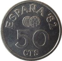 reverse of 50 Centimos - Juan Carlos I - 1982 FIFA World Cup (1980) coin with KM# 815 from Spain. Inscription: ESPAÑA '82 50 CTS