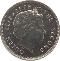 obverse of 5 Pence - Elizabeth II - 4'th Portrait (2004 - 2011) coin with KM# 132 from Falkland Islands. Inscription: QUEEN ELIZABETH THE SECOND