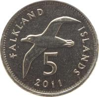 reverse of 5 Pence - Elizabeth II - 4'th Portrait (2004 - 2011) coin with KM# 132 from Falkland Islands. Inscription: FALKLAND ISLANDS 5 2011