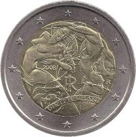 obverse of 2 Euro - Human Rights (2008) coin with KM# 301 from Italy. Inscription: 60 DIRITTI UMANI RI 2008 R MCC
